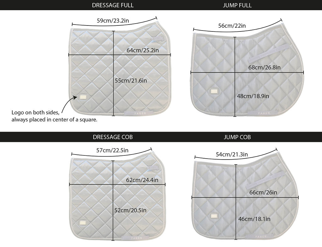 Fager Saddle Pad Size Guide